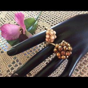 Two Vintage Statement Rings Avon Coral Gold Bead